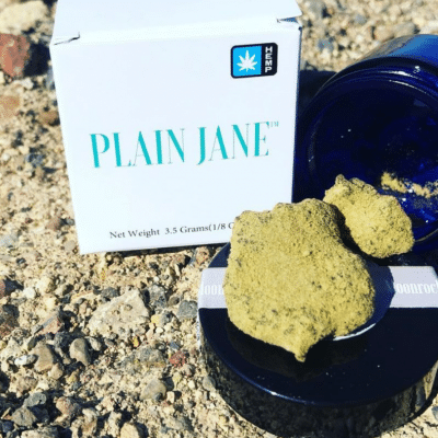 Plain Jane CBD Moon Rocks Weed in blue container